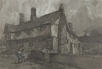 an old restored house at boxford, suffolk by leonard russel squirrell