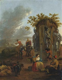 shepherds and their flock at rest in a landscape, with a classical fountain by adam de colonia