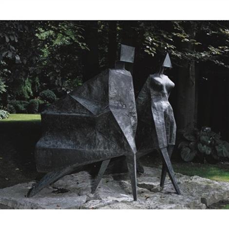 pair of walking figures jubilee by lynn chadwick