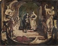 opernszene mit paar an einer gondel by fritz max hofmann-juan