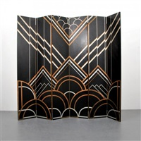 art deco, six-panel, folding screen/room divider by donald deskey