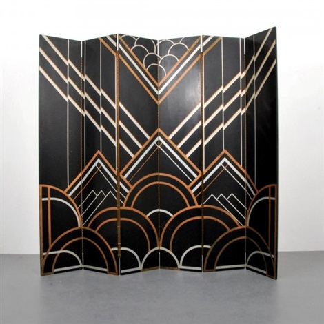 Art deco six panel folding screenroom divider by Donald Deskey on