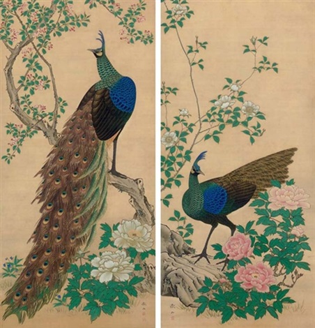 peacocks peonies pair by tetsuzan