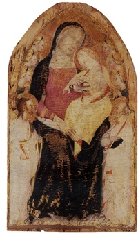 the madonna and child with saint bartholomew, a saint with a book and six angels by giovanni del biondo