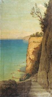 vue de la falaise et des cabanes de pêcheurs en contrebas by pavel aleksandrovich bryullov