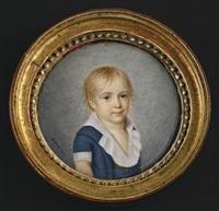 portrait d'un jeune garçon en habit bleu et large col blanc en buste presque de face et coiffé de fines mèches blondes by ferdinand machera