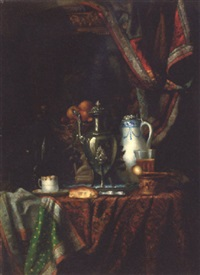 a coffee pot, a jug, a glass with a cup and saucer on a draped table by albert raoux