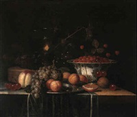 still life with fruit, kraak porcelain bowls, silver tazza, a roemer, shrimp and a crab by theodor van aenvack