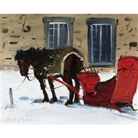 horse and red sleigh by terry tomalty