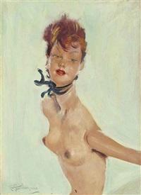 portrait de grace, nue en buste by jean-gabriel domergue