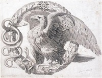 an ornamental design with an eagle and a snake within a crown of laurel leaves by giocondo albertolli
