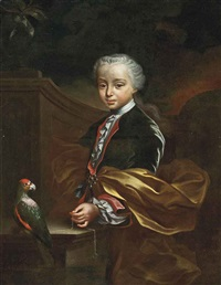 portrait of a young boy in a blue coat and gold wrap, a chain in his left hand, beside a parrot, in a classical garden by pierre hubert subleyras