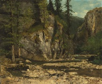 mountainous landscape with stream by gustave courbet