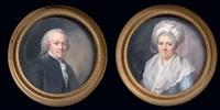 portrait de jacques-louis périn, père de l'artiste (+ portrait de marguerite périn, mère de l'artiste; 2 works) by lié-louis périn-salbreux