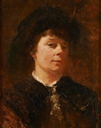 portrait de femme au chapeau by jacobs (jakob) smits