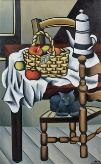 nature morte au chat by georges bauquier