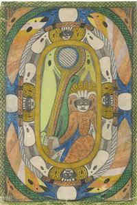 sitzende figur mit krone und maske im oval by adolf wölfli