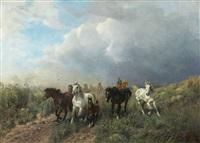 wiesenlandschaft mit trabenden pferden by ludwig benno fay