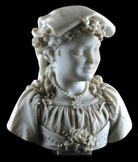 a stylish young italian lady wearing a traditional pinned kerchief upon her head by lot corelli