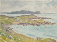 view on the irish coast (+ irish mountain scene; pair) by frank forty