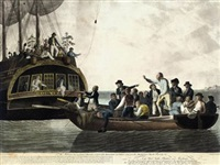 the mutineers turning lieut. bligh and part of the officers and crew adrift from his majesty's ship the bounty by robert dodd