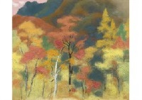 autumn leaves in deep mountain by kibo kodama