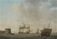 a frigate passing a crowded revenue lugger, in congested waters off portsmouth harbour by francis swaine