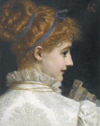 bildnis einer eleganten dame mit fächer by antonio barzaghi-cattaneo
