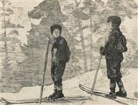 to skiløpere by erik theodor werenskiold