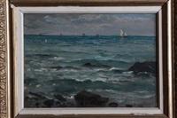 marine avec rochers by jules masuré