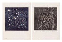 ensemble de deux oeuvres: h 1973/6 (set of 2) by hans hartung