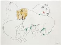 leoparden buntstiftzeichnung 42 x 55.5 cm gespendet vom künstler by oswald oberhuber