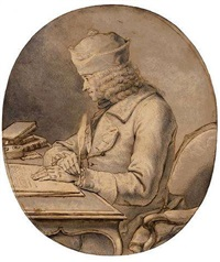 voltaire seated at a desk wearing a cap by stanislaus-jean (marquis de) boufflers