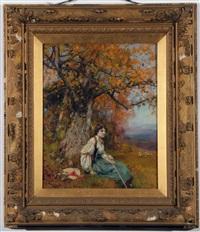 young shepherdess seated beneath a tree by henry john yeend king
