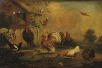 turkeys, a cockerel, hens and other fowl and birds by a hen-house by marmaduke cradock