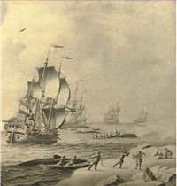 whaling ships in rough waters with whale hunters bringing in their catch by adriaen van salm