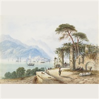 sunlit adriatic port scene with figures (+ another; pair) by edwin st. john