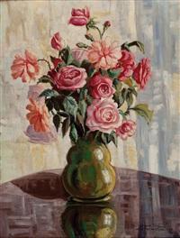 blumenstrauß in vase by otmar karl kratochwill