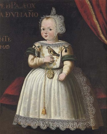portrait of a young girl from the palafox family, aged 1, in a white dress trimmed with lace and wearing a white lace bonnet, holding a bird by bartolomé gonzalez