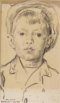 portrait of a boy, bust-length by emile wauters