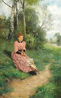 young woman in a pink dress, sitting with parasol near a lake by louis lang