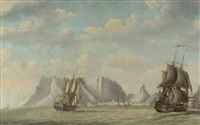 a squadron of dutch ships, a capriccio view of the tafelberg, cape town, beyond by engel hoogerheyden