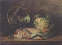 nature morte à la bassine de cuivre, chou-fleur et poissons by eugene h. frey