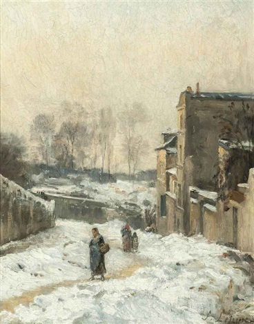 figures in the snow la rue cortot montmartre by stanislas lépine