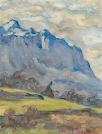 paysage de montagnes by giacomo zanolari
