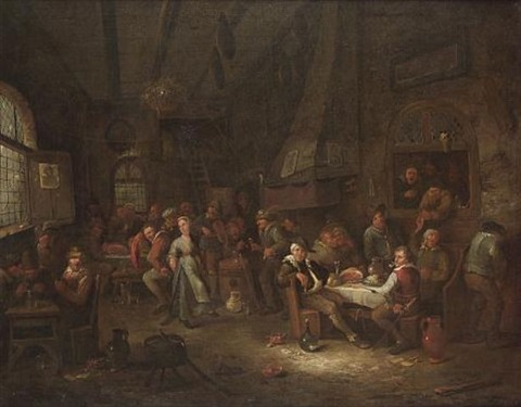 a tavern interior with peasants merrymaking by egbert van heemskerck the younger
