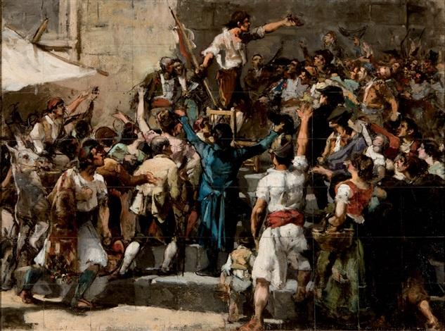 boceto para el pallater declarando la guerra a napoleón by joaquin sorolla y bastida