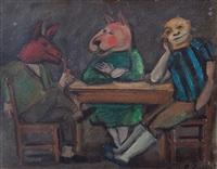 máscaras en la mesa by luis alberto solari