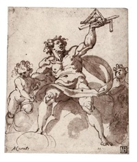 an allegory of architecture: a male figure with two putti by jacopo zucchi