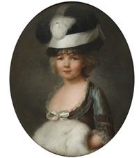 portrait de jeune fille en robe de ton changeant, les mains dans son manchon by simon-bernard lenoir